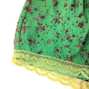 Lush Shorts - Lush Green Floral Print Chiffon Lace Shorts M NWOT